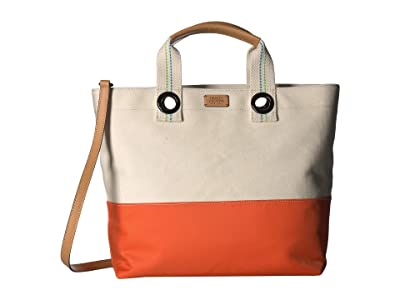 Frances Valentine Flat Tote w/ Top-Handle (Natural/Orange) Handbags