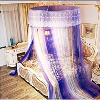 New Bed Curtains Canopy - Gradient Mosquito Net Lace Flower Edge Top Circle Suction Cup Installation Canopy Netting for (...