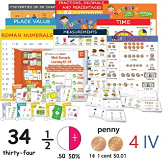 Little Champion Reader Teach Math Learning Kit 9 : Measurement, Roman Numerals, Place Value, Time, Money, Counting Numbers 1-100 & to a Million, 3D Shapes, Fractions, Decimals & Percentages
