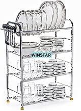 WINSTAR Stainless Steel 4 Shelf Wall Mount Kitchen Utensils Rack   Dish Rack with Plate & Cutlery Stand   Modular Kitchen Storage Rack   Kitchen Organizer (18x24 inches)