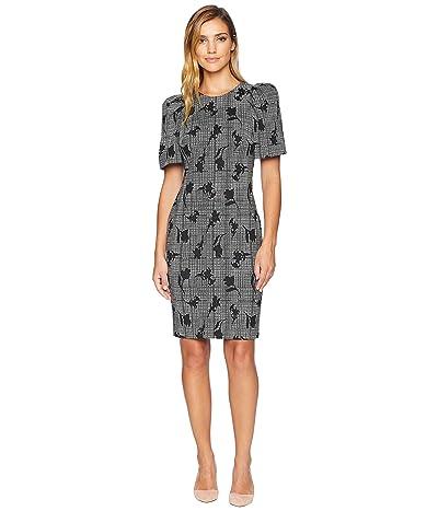 Calvin Klein Floral Print Puff Sleeve Sheath Dress CD8C35GB (Black/Cream) Women