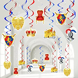 45 Pieces Medieval Theme Party Decorations MedievalCard Medieval Whirls Lions Castle Crown Armour Shield Party Supplies f...