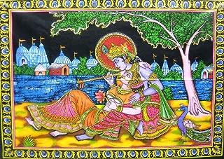 India Crafts Divine Lovers Radha Krishna Hindu God sequin Batik Cotton Wall Tapestry 40