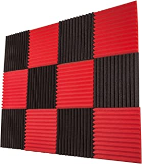 "Foamily 12 Pack- Red/Charcoal Acoustic Panels Studio Foam Wedges 1"" X 12"" X 12"""