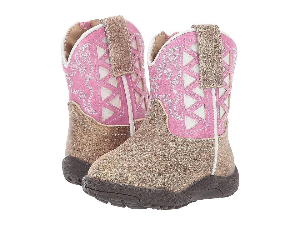 Roper Kids Askook (Infant/Toddler) (Beige Vamp/Pink Underlay Embroidered Shaft) Cowboy Boots