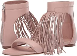 Flat Leather Sandal with Fringe Detail