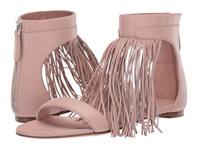 Alexander McQueen Flat Leather Sandal with Fringe Detail (Peonia/Silver) Women