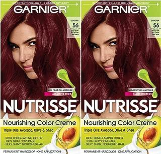 Garnier Hair Color Nutrisse Nourishing Creme, 56 Medium Reddish Brown (Sangria), 2 Count