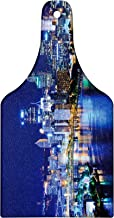 Lunarable Cityscape Cutting Board, Skyscrapers Downtown Pittsburgh American Night Skyline Business Town Scenery, Tempered Glass Serving Board, Wine Bottle Shape, Medium Size, Night Blue