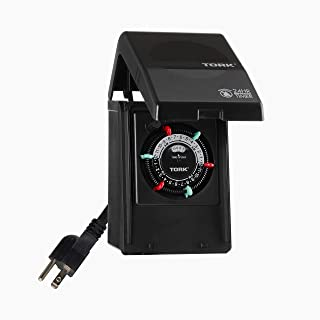 NSi Industries TORK RHB32R Indoor/Outdoor 15-Amp Plug-in Heavy Duty Mechanical Timer 24-Hour Programming – GREEN & RED Trippers TWO Receptacles Black Cover