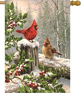 Best Wamika Spring House Flags 28 x 40 Double Sided, Cardinal Red Bird Holly Berry Branches Snow Welcome Winter Holiday Yard Outdoor Garden Flag Banner for Party Home Christmas Decorations Review