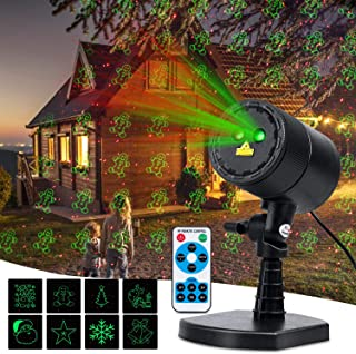 Minetom Christmas Laser Lights, Outdoor Waterproof Projector 8 Green Patterns Red Star Show LED Lights with RF Wireless Remote, Decorative Lighting for Outdoor Christmas Party Holiday Halloween