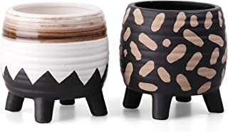TERESA'S COLLECTIONS Set of 2 Modern Flower Pots Indoor, Tribal Gardening Planter Pots with Geometric Pattern for Centerpi...