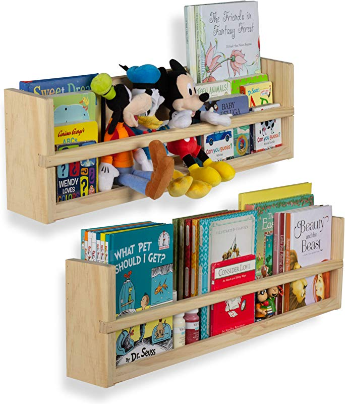 Nursery D Cor Wall Shelves 2 Shelf Set Wood Floating Bookshelves For Baby Kids Room Book Organizer Storage Ledge Display Holder For Toys CDs Spice Rack Ships Assembled No Finish