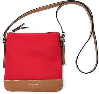 New Tommy Hilfiger Logo Crossbody Purse Shoulder Hand Bag Red Tan Silver Nylon