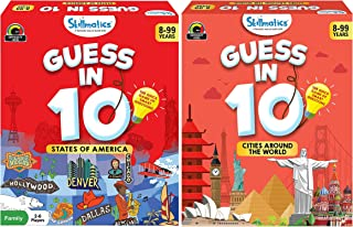 Skillmatics Guess in 10 - Sates of America + Cities Around The World (Ages 8-99) Bundle | Card Game of Smart Questions | G...