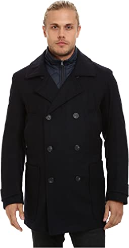 Mulberry Pressed Wool Peacoat w/ Removable Quilted Bib
