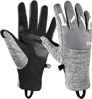 Botack Winter Running Gloves Touchscreen Polar Fleece Genuine Goatskin Leather Gloves