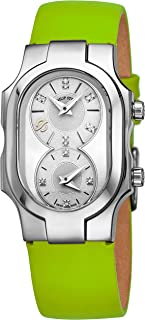 Philip Stein Signature Swiss Made Womens Dual Time Zone Watch - Natural Frequency Technology Analog Mother of Pearl Face Ladies Watch with Diamonds - Green Leather Band Quartz Watch for Women