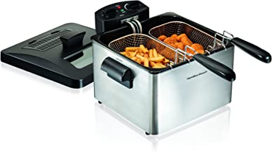 Hamilton Beach 35036 Double Basket Electric Deep Fryer Professional-Style, 12 Cup Food Capacity, 4.5 Liters and 1800 Watts, Stainless Steel