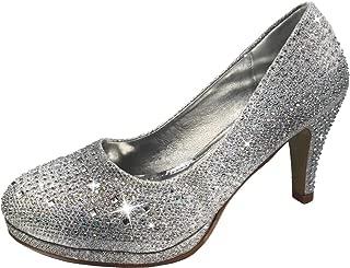 Harper Shoes Women's Pumps Closed Toe Crystal Rhinestone Embellished Mid Heel