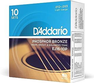 D'Addario EJ16-10P Cordes en bronze phosphoreux pour guitare acoustique Léger 10 jeux