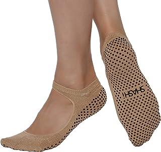 SHASHI, Sweet - Calcetines antideslizantes para mujer, diseño con panel superior abierto, estilo Mary Jane, pilates, barra, yoga