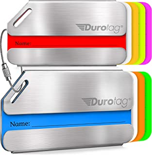 Durotag Luggage Tags Personalized Custom Stainless Steel Travel Bag Tag ID 2 Set