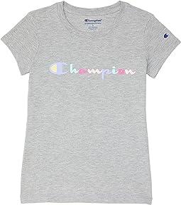 Color-Block Script Short Sleeve T-Shirt (Big Kids)