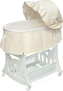 Portable Rocking Baby Bassinet with Toybox Base, Short Skirt, and Pad
