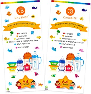 Baby Bottle Labels for Daycare, Self-Laminating, Waterproof Write-On Name Labels, Assorted Sizes & Colors, Pack of 128