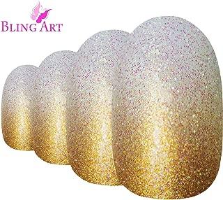 Bling Art Oval False Nails Gold Gel Ombre Medium Fake Acrylic 24 Tips Glue