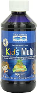 Trace Minerals Kids Multi-Vitamin/Mineral Supplement, Fast-Absorbing Liquid Formula, Citrus Punch, 8-Ounce Bottles