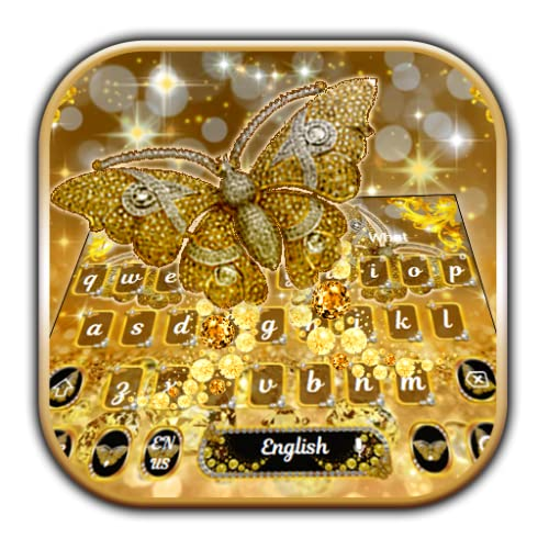 Gold Diamond Butterfly Keyboard Theme