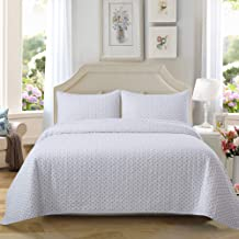 Soul & Lane On The Dot 100% Cotton Polka Dot Printed 3-Piece Quilt Set (Queen) | with 2 Shams Pre-Washed Reversible Machine Washable Lightweight Bedspread Coverlet