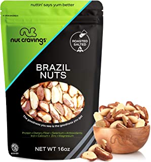 Freshly Roasted & Salted Brazil Nuts, No Shell, Whole (16oz - 1 Pound, Resealble Bag) - Healthy Snack Food Mix, Rich in Protien & Selenium - Keto & Paleo Diet Friendly, Vegan, Gluten Free, Kosher