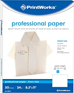 PrintWorks Ivory Resume Paper, 24lb/89gsm, 50 Sheets, 8.5 x 11 inches, For Office, Home & School Printing (00553)