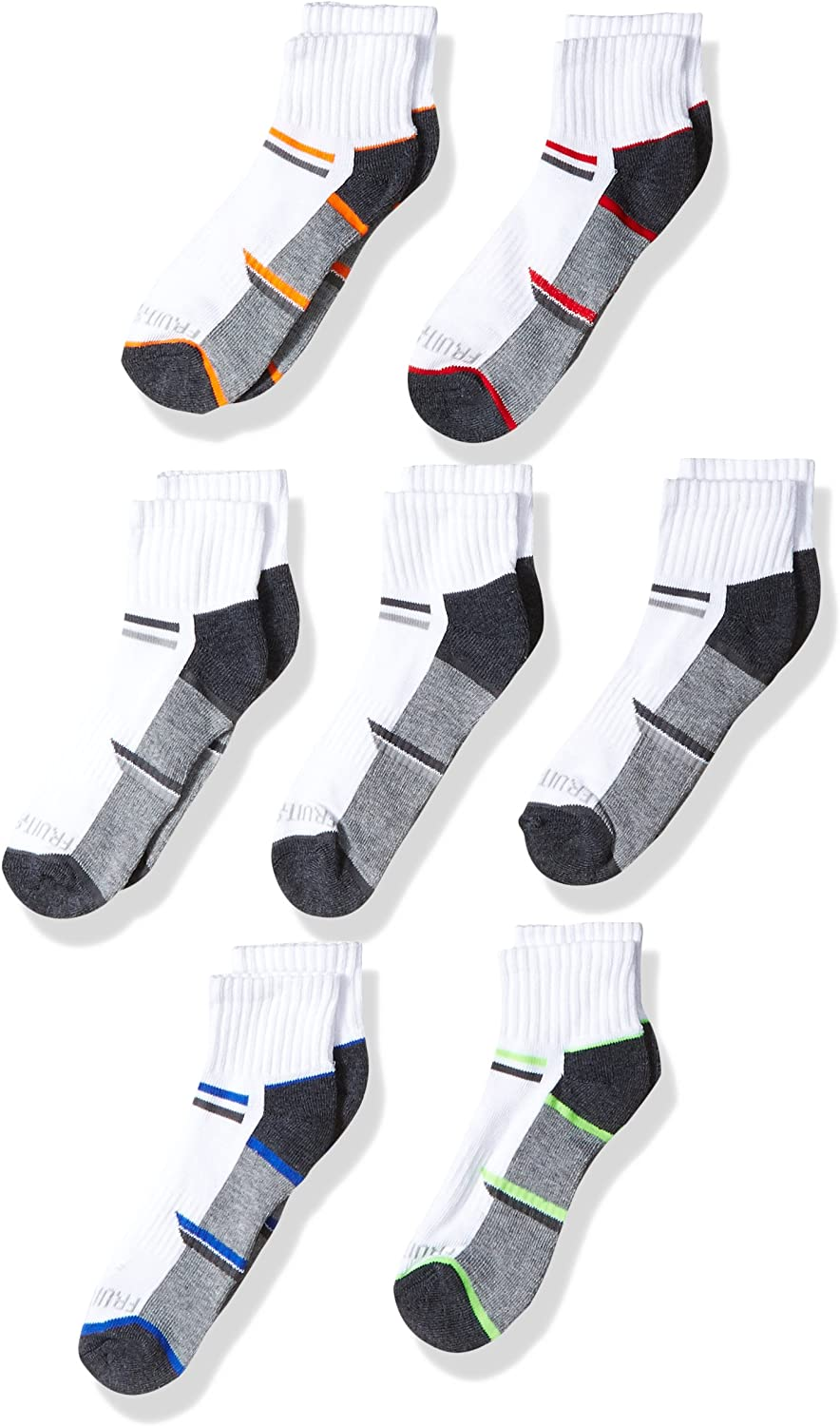Fruit of the Loom Boys' 7 Pack Everyday Active Ankle Socks