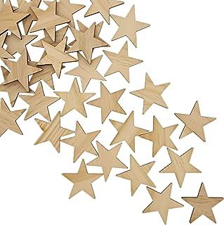 Bright Creationsin terminar de Madera Azulejos (50-Pack) - Madera inacabada Estrellas Recortes - Ideal para Bricolaje Manu...