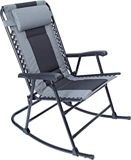 LUCKYBERRY Camping Rocking Chair Folding Padded Patio Lawn Reclining with Armrest, Grey, Supports 300lbs