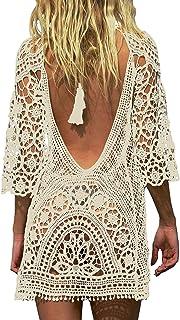 heekpek Mujer Ganchillo de La Vendimia Borlas Mini Vestido Talla Grande Traje de ba/ño de Gasa Cubra Camisa Protector Solar Playa Larga Vestido