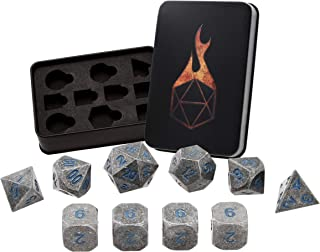 Forged Dice Co. Solid Metal Polyhedral Dice Set with Custom Foam Insert, Tin and Stickers - Compatible with D&D, RPG Gaming and Tabletop Games