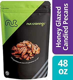 Nut Cravings - Fresh Honey Glazed Candied Pecans (3 Pounds) - In Resealable Bag - 48 Ounce