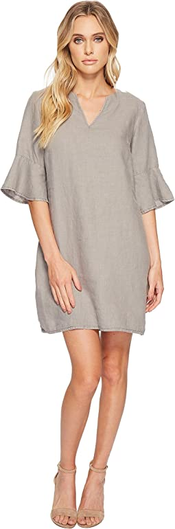 Woven Linen Trumpet Sleeve Shift Dress