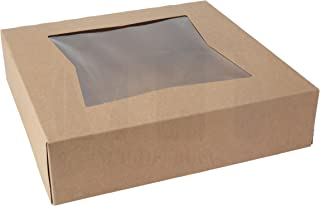 """Kraft Paperboard Bakery Box 8"""" L x 8"""" W x 2 ½"""" H - Brown Pastry Box with Auto-Popup Window by MT Products (25 Pieces)"""