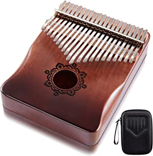 Byla Kalimba 21 Keys Play More Songs Solid Wood Mahogany Portable Thumb piano with Case Gradient Coffee Brown Finger piano Mbira Calimba Marimba Musical Instruments for Kids, Adults and Beginners