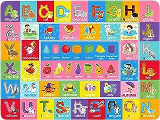 FAVOMOTO Crianças Tapete Educacional Jogar Mat ABC Alfabeto Palavras Formas Área Tapete Crianças Tapete para Quarto de Cri...