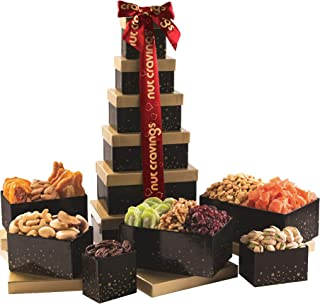 Dried Fruit & Nut Gift Basket, Black Tower + Red Ribbon (12 Piece Assortment) - Rosh Hashanah Arrangement Platter, Care Pa...