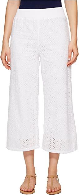 Cotton Eyelet Wide Leg Crop Pants