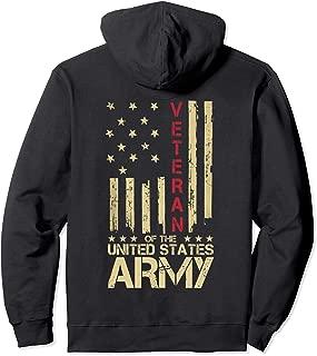 Patriotic U.S Army Veteran Red Line American Flag Hoodie Tee